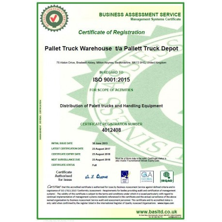 Quality Control ISO 9001:2008 Calibration Certificate