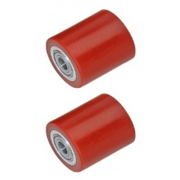 Small Wheel for PT-SC1, 2 & 3 Scissor Lift Table Red Polyurethane Load Roller 50mm x 70mm x 20mm Core (Pack Of Two)